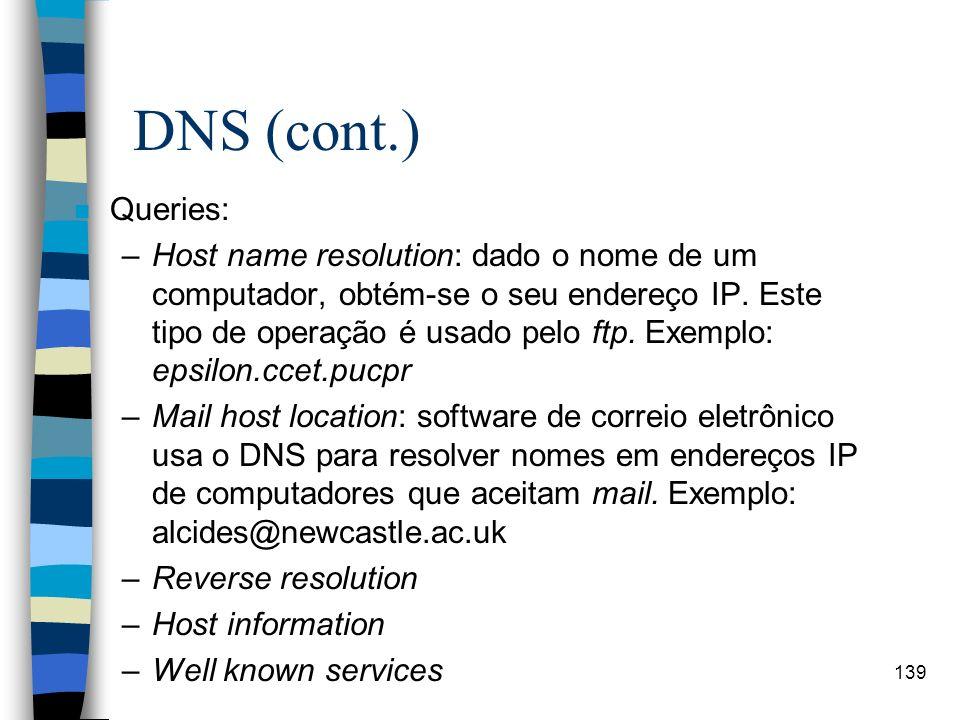 DNS (cont.) Queries: