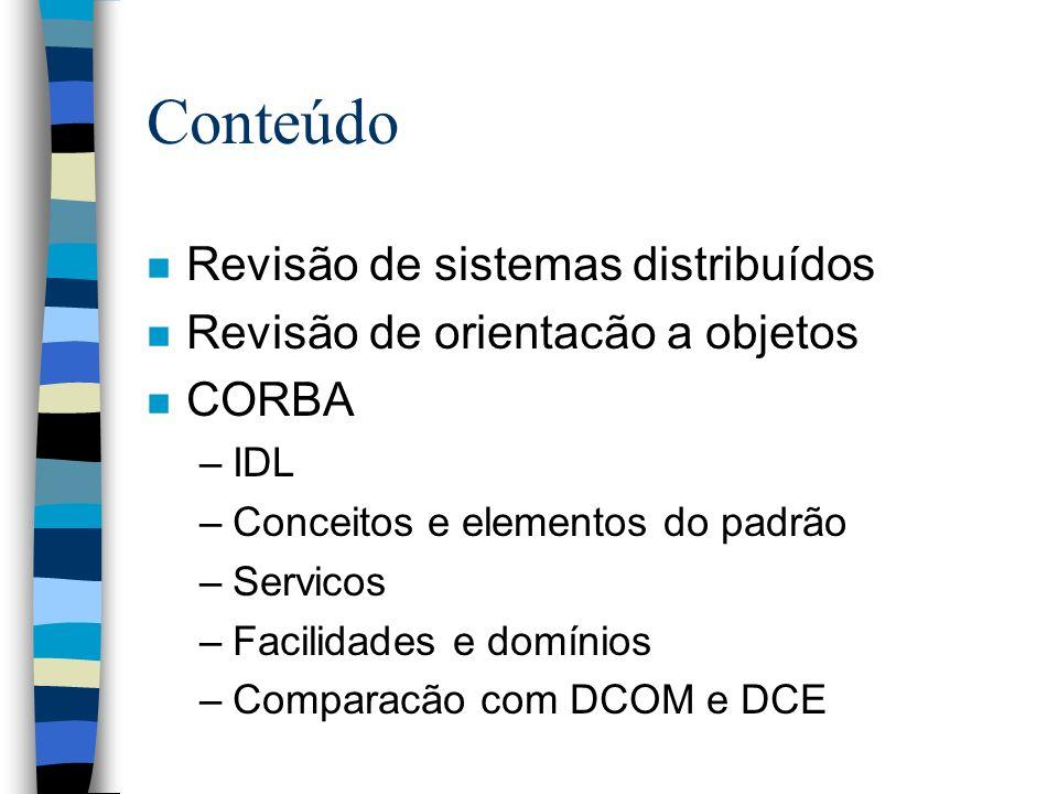 Conteúdo Revisão de sistemas distribuídos