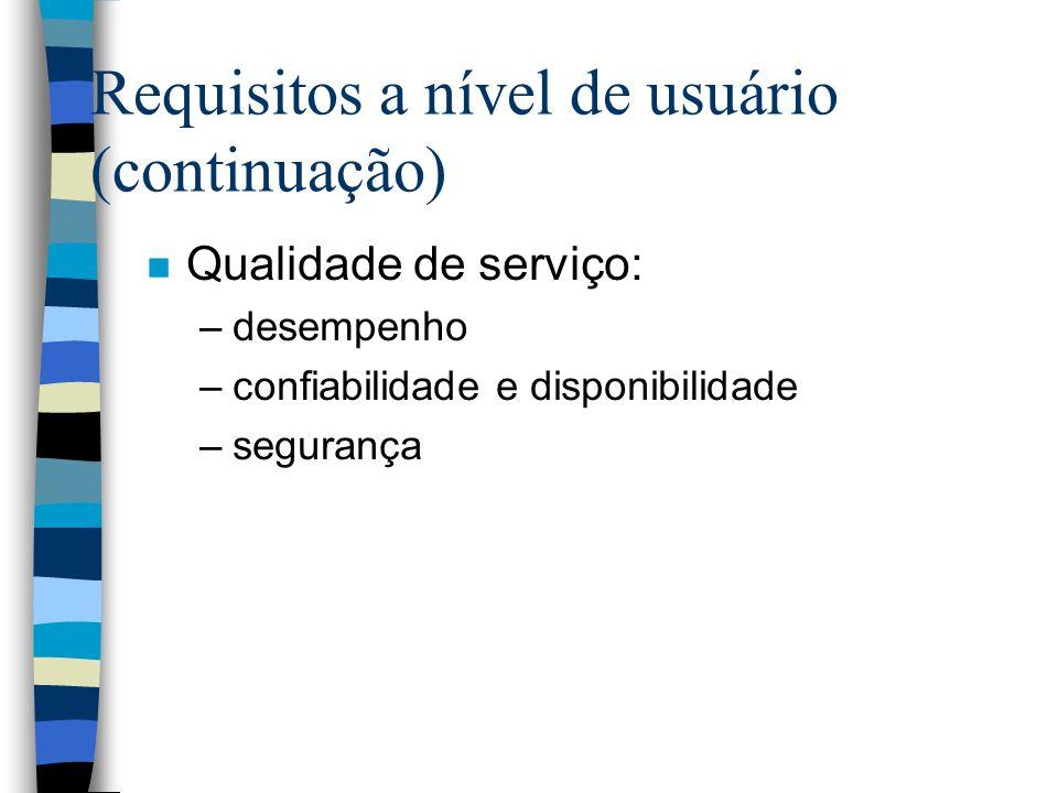 Requisitos a nível de usuário (continuação)