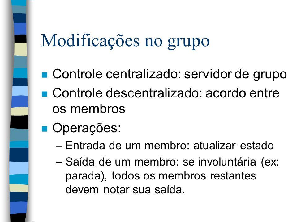 Modificações no grupo Controle centralizado: servidor de grupo