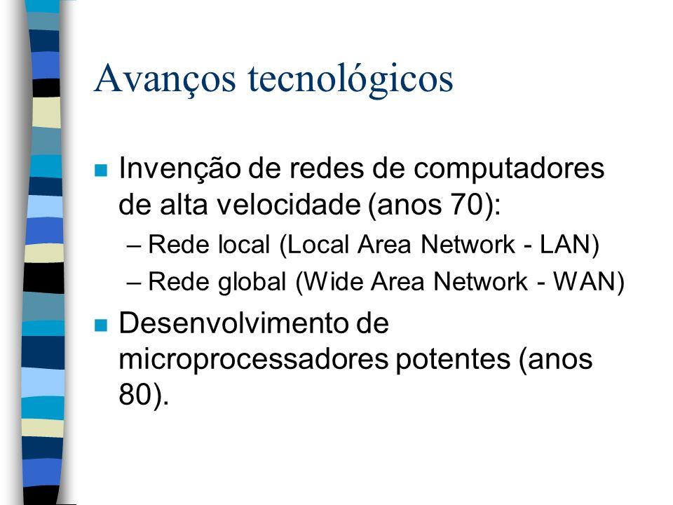 3/25/2017 Avanços tecnológicos. Invenção de redes de computadores de alta velocidade (anos 70): Rede local (Local Area Network - LAN)