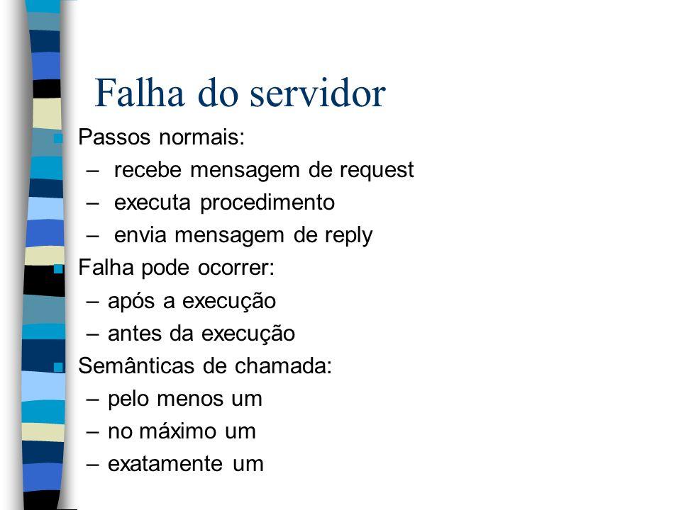 Falha do servidor Passos normais: recebe mensagem de request