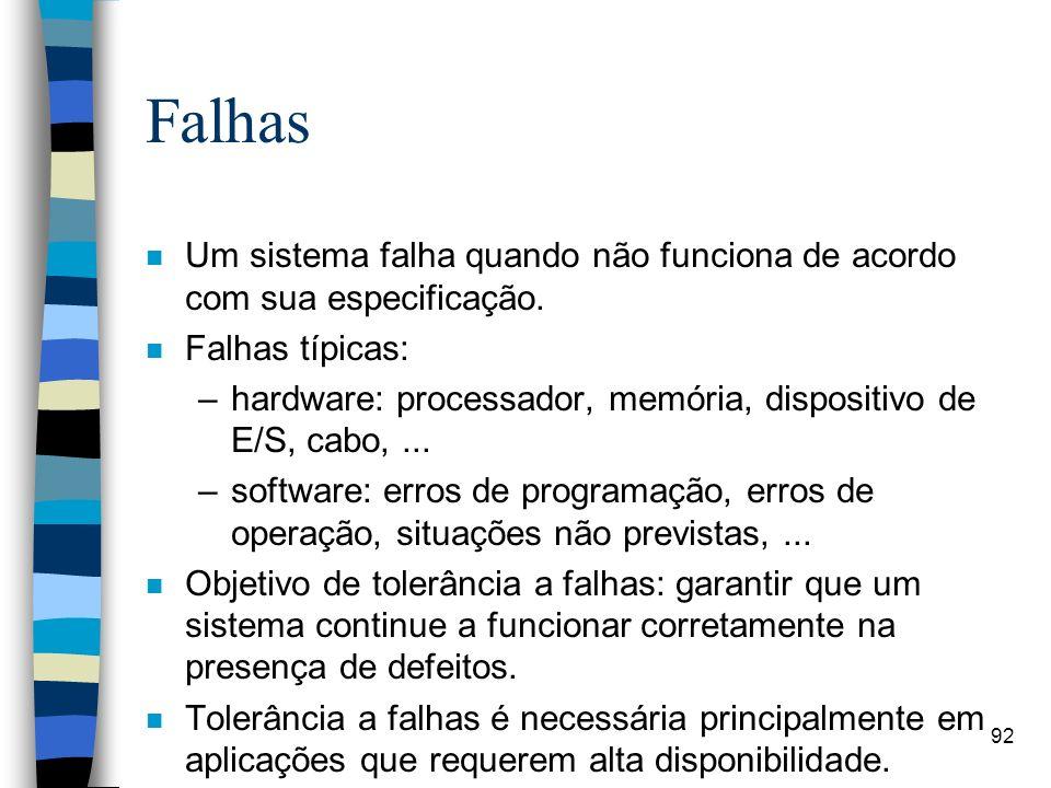 Falhas Um sistema falha quando não funciona de acordo com sua especificação. Falhas típicas: