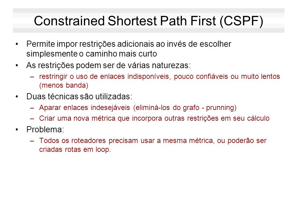 Constrained Shortest Path First (CSPF)