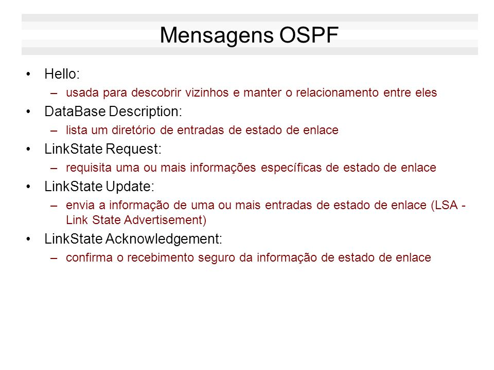 Mensagens OSPF Hello: DataBase Description: LinkState Request:
