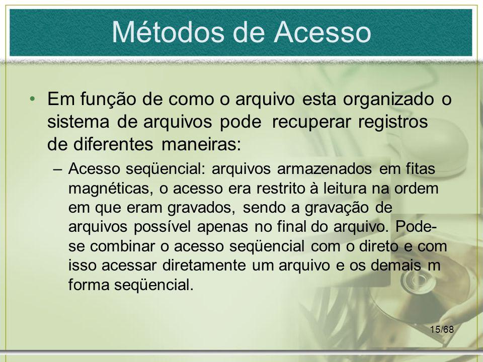 Métodos de AcessoEm função de como o arquivo esta organizado o sistema de arquivos pode recuperar registros de diferentes maneiras: