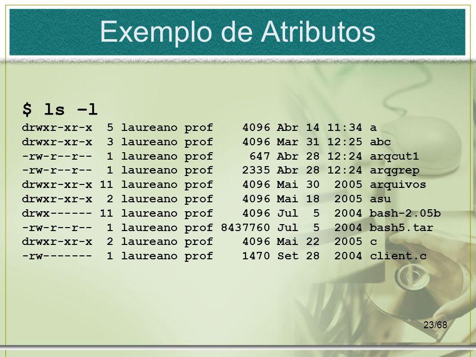 Exemplo de Atributos $ ls –l