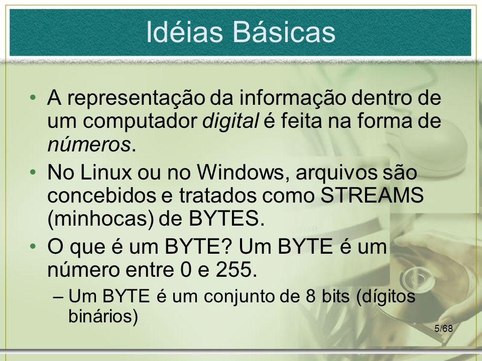 Idéias Básicas A representação da informação dentro de um computador digital é feita na forma de números.