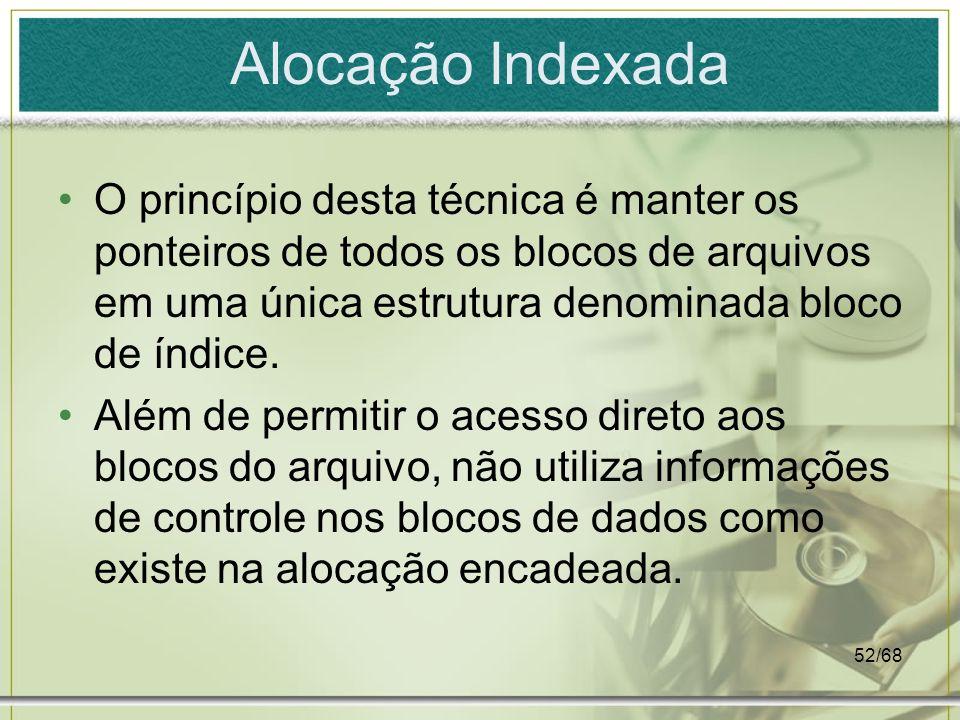 Alocação Indexada O princípio desta técnica é manter os ponteiros de todos os blocos de arquivos em uma única estrutura denominada bloco de índice.