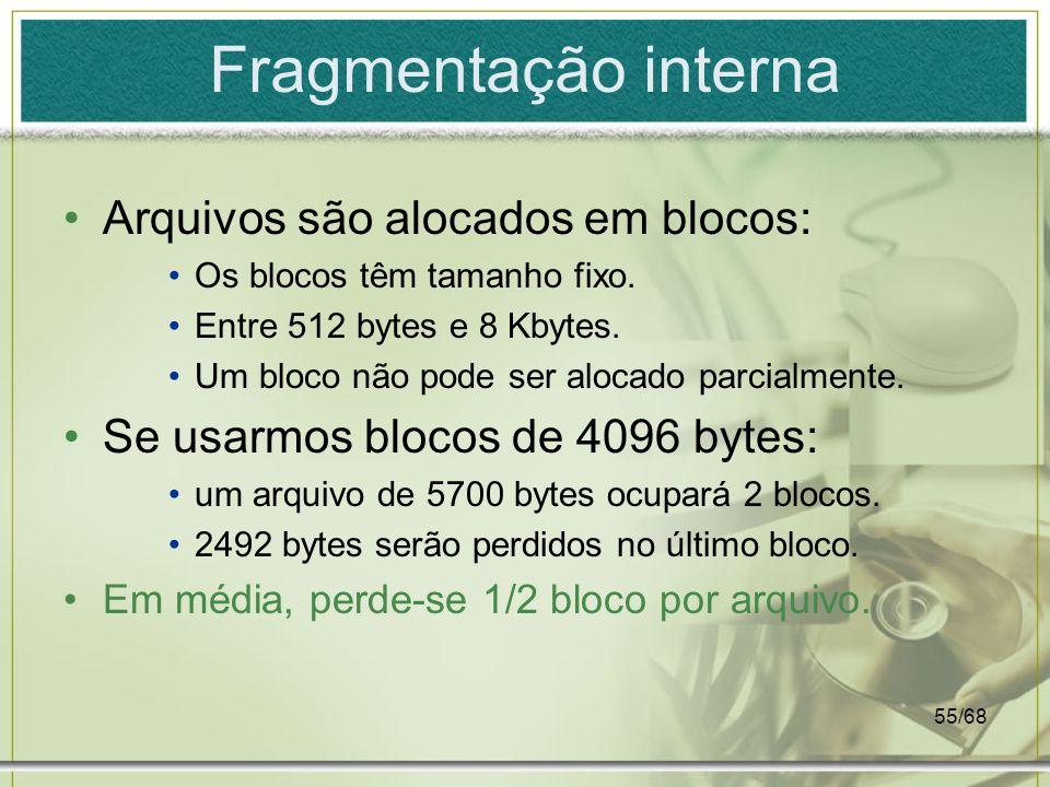 Fragmentação interna Arquivos são alocados em blocos: