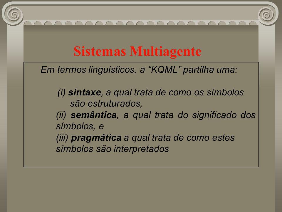 Sistemas Multiagente Em termos linguisticos, a KQML partilha uma:
