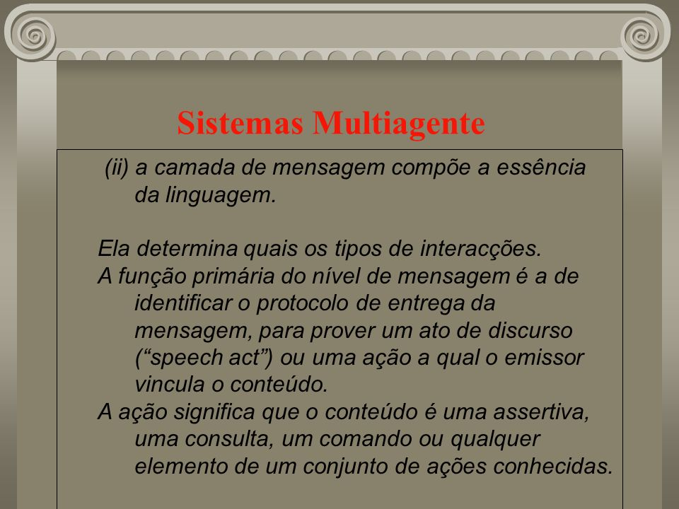 Sistemas Multiagente (ii) a camada de mensagem compõe a essência da linguagem. Ela determina quais os tipos de interacções.
