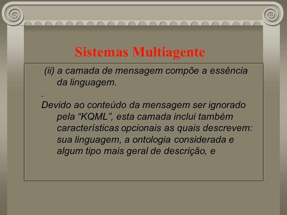 Sistemas Multiagente (ii) a camada de mensagem compõe a essência da linguagem. .