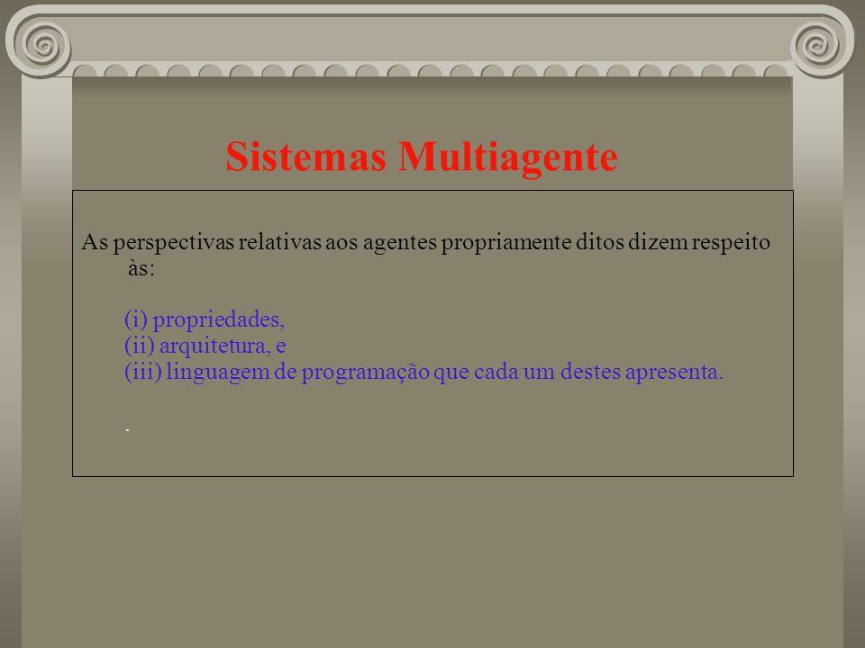 Sistemas Multiagente As perspectivas relativas aos agentes propriamente ditos dizem respeito às: (i) propriedades,