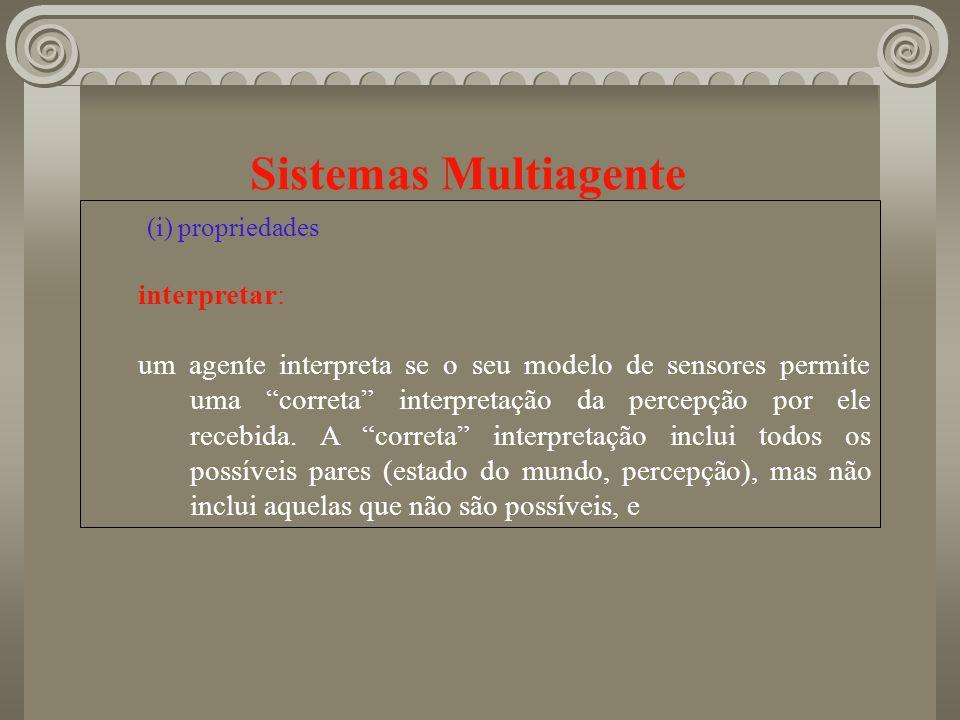 Sistemas Multiagente (i) propriedades interpretar: