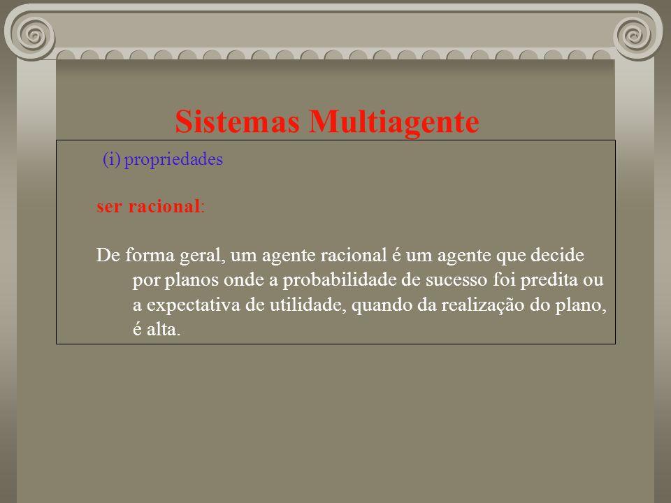 Sistemas Multiagente (i) propriedades ser racional: