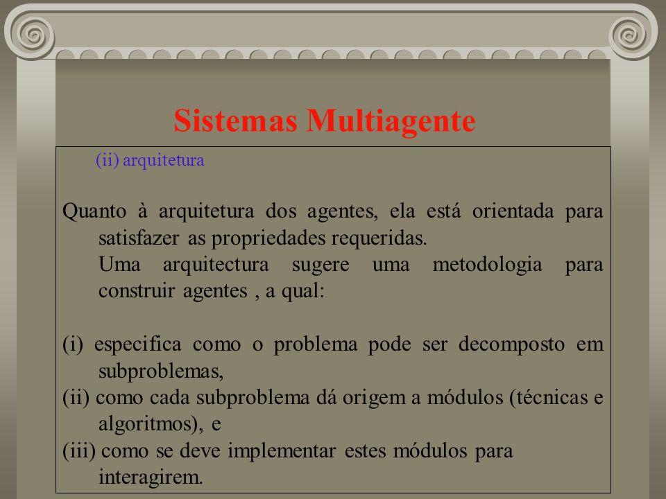 Sistemas Multiagente (ii) arquitetura. Quanto à arquitetura dos agentes, ela está orientada para satisfazer as propriedades requeridas.