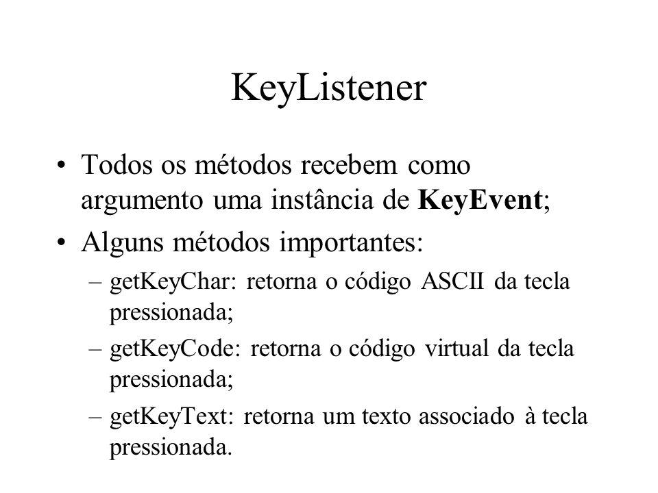 KeyListener Todos os métodos recebem como argumento uma instância de KeyEvent; Alguns métodos importantes: