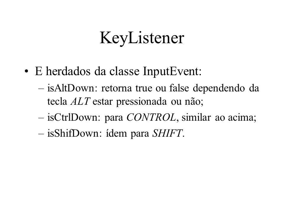 KeyListener E herdados da classe InputEvent: