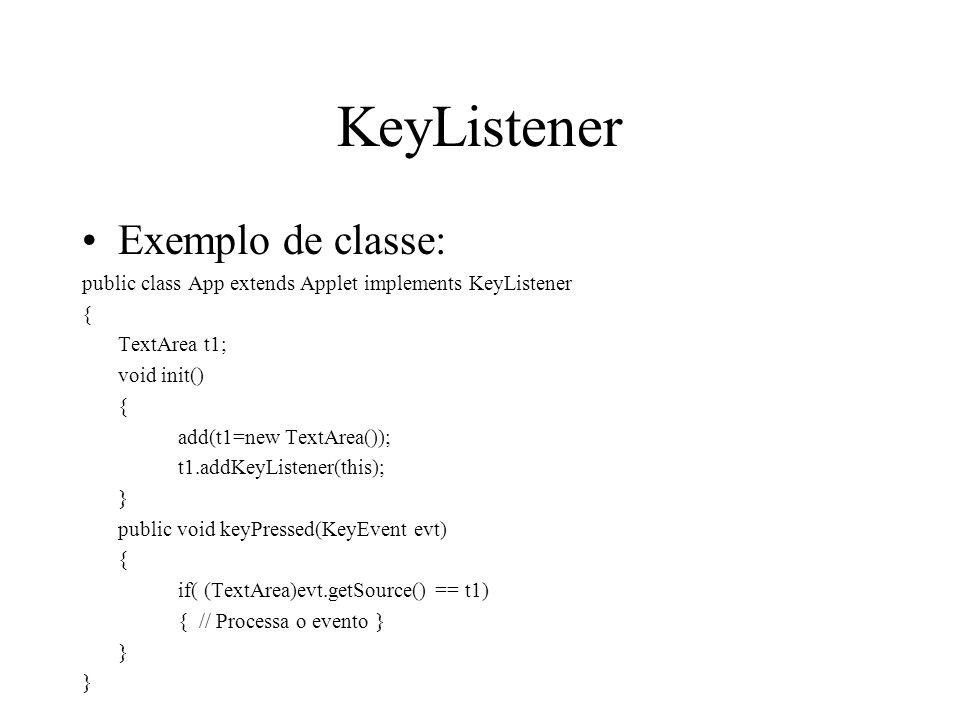 KeyListener Exemplo de classe: