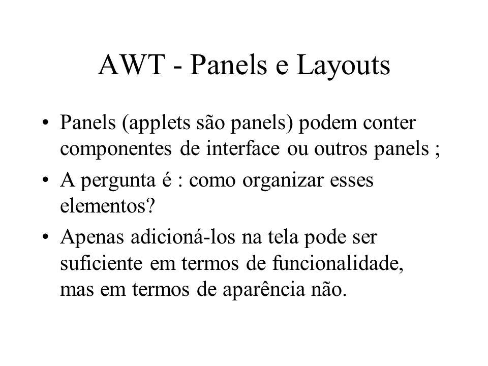 AWT - Panels e Layouts Panels (applets são panels) podem conter componentes de interface ou outros panels ;