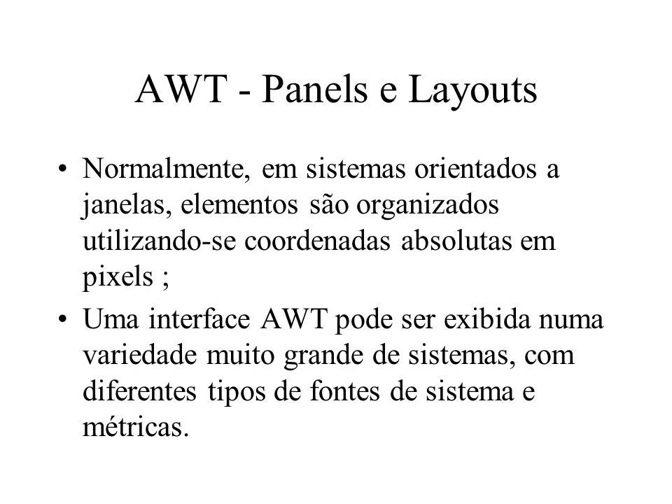AWT - Panels e Layouts Normalmente, em sistemas orientados a janelas, elementos são organizados utilizando-se coordenadas absolutas em pixels ;