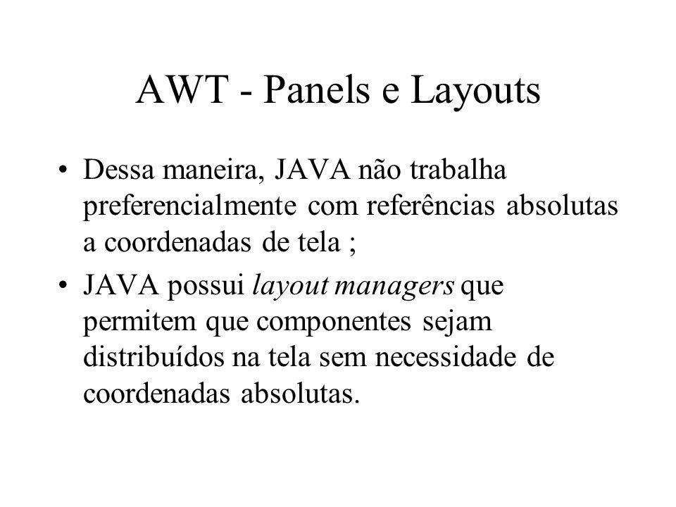 AWT - Panels e Layouts Dessa maneira, JAVA não trabalha preferencialmente com referências absolutas a coordenadas de tela ;