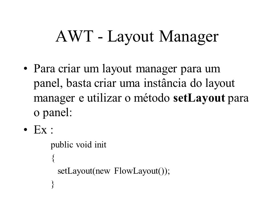 AWT - Layout Manager