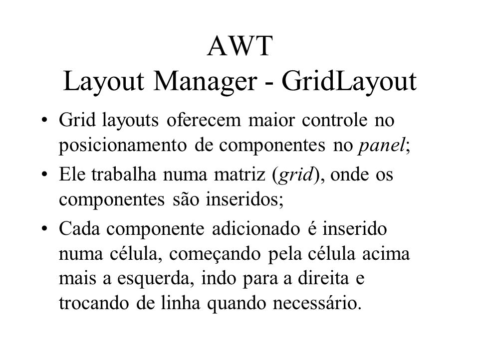 AWT Layout Manager - GridLayout