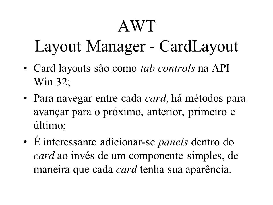 AWT Layout Manager - CardLayout