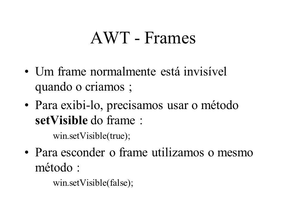 AWT - Frames Um frame normalmente está invisível quando o criamos ;