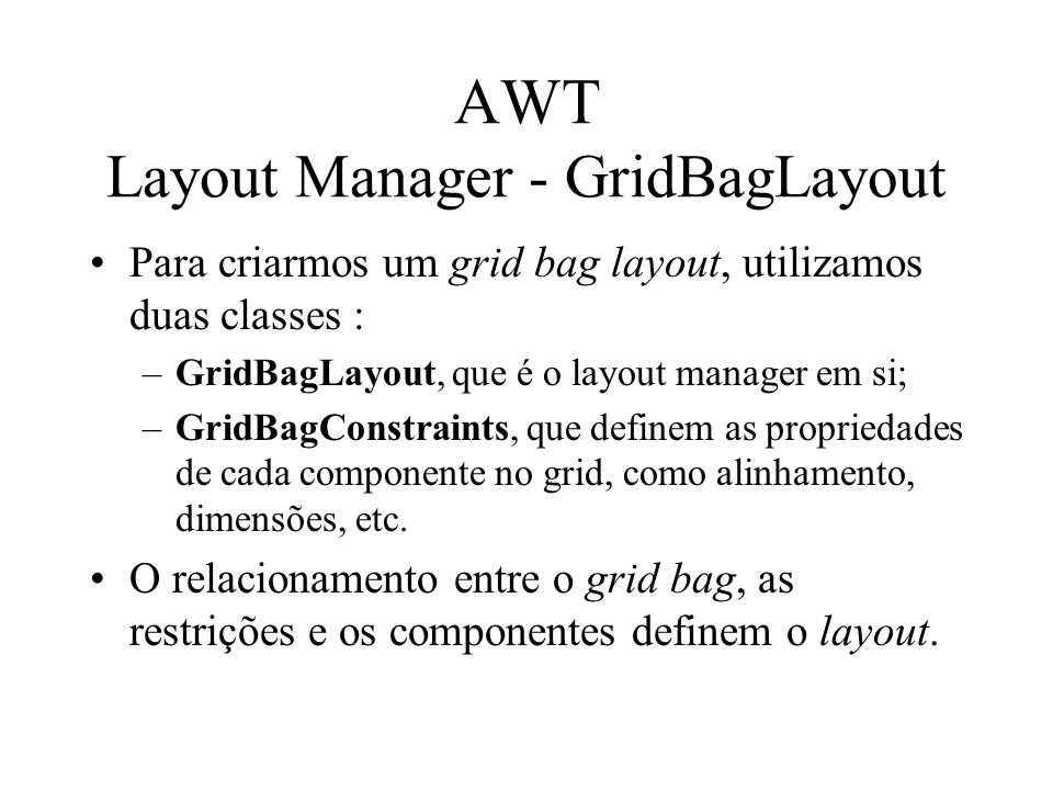 AWT Layout Manager - GridBagLayout