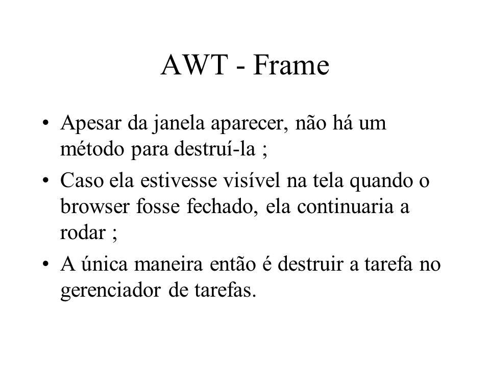 AWT - Frame Apesar da janela aparecer, não há um método para destruí-la ;