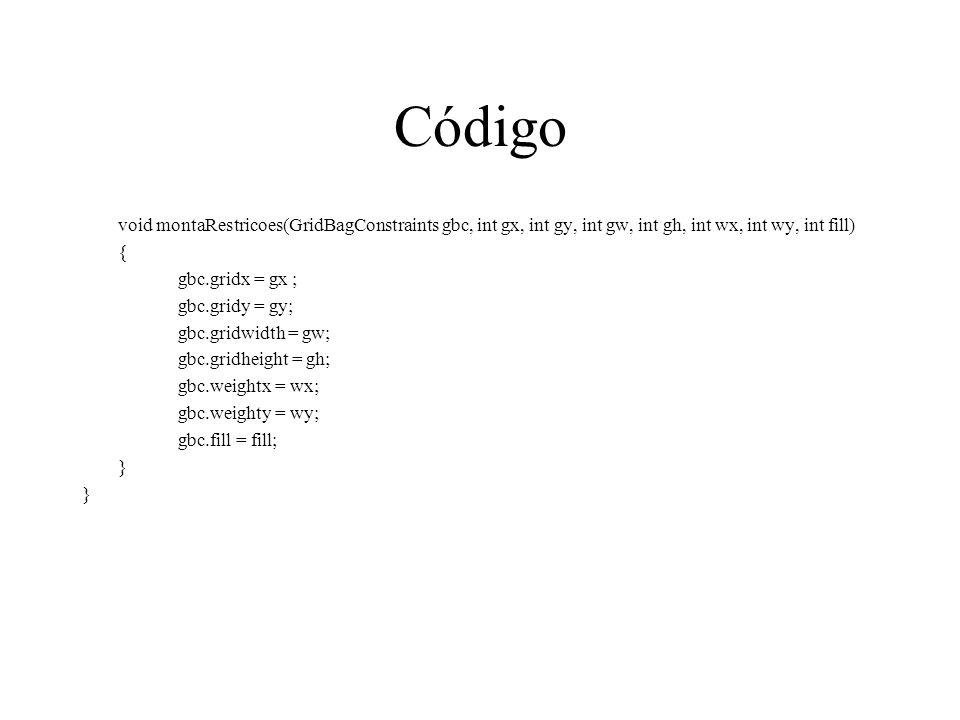 Código void montaRestricoes(GridBagConstraints gbc, int gx, int gy, int gw, int gh, int wx, int wy, int fill)
