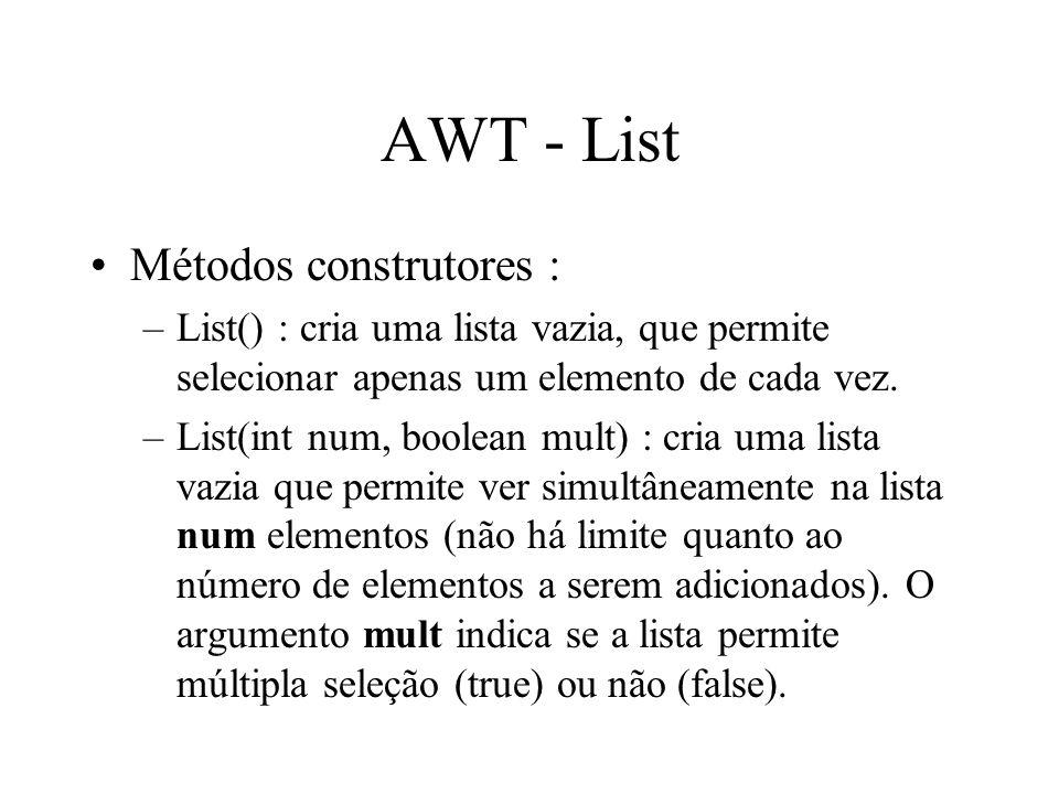 AWT - List Métodos construtores :