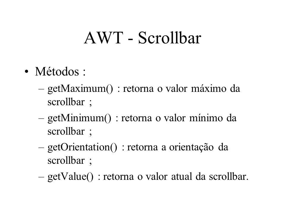 AWT - Scrollbar Métodos :