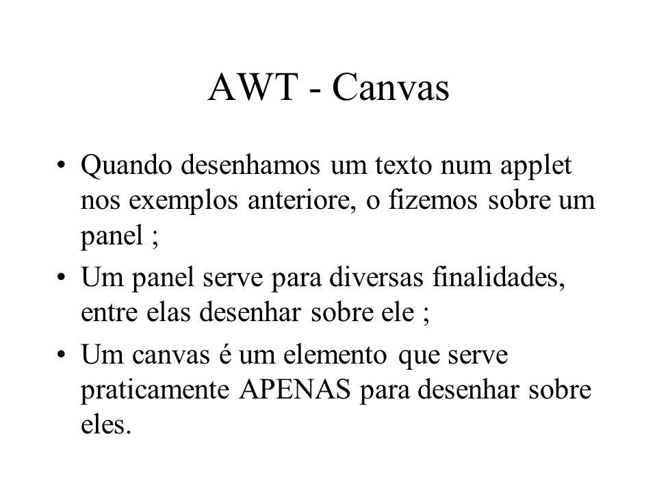 AWT - Canvas Quando desenhamos um texto num applet nos exemplos anteriore, o fizemos sobre um panel ;