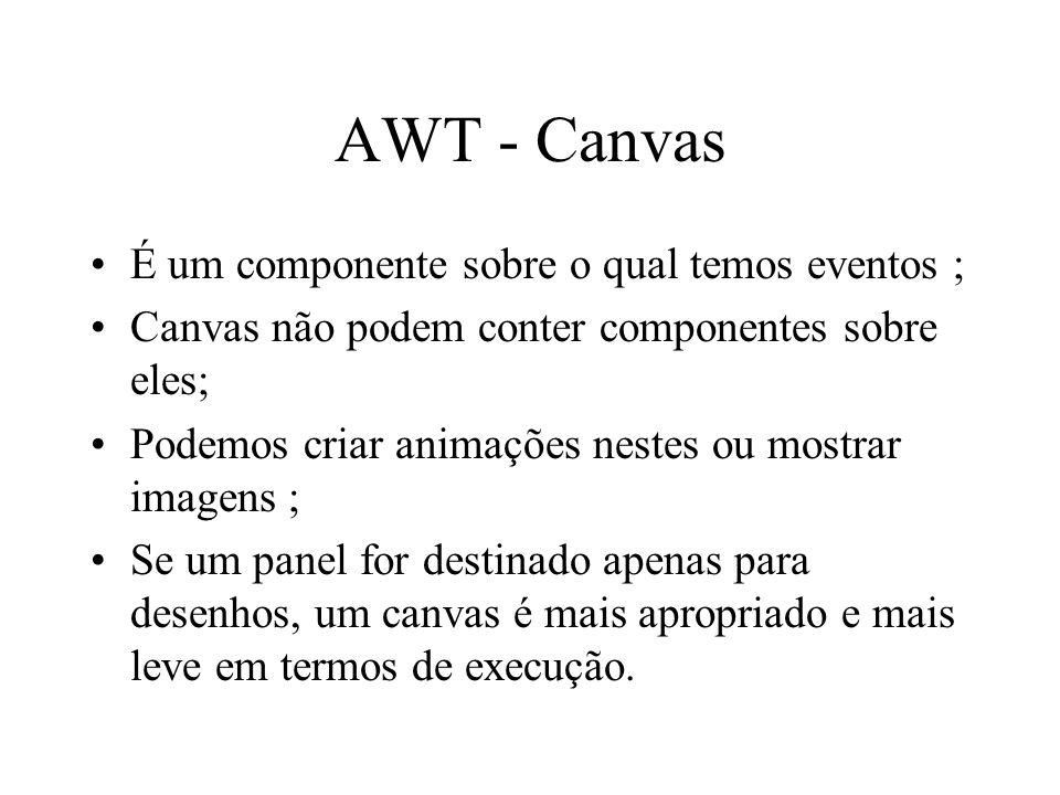 AWT - Canvas É um componente sobre o qual temos eventos ;