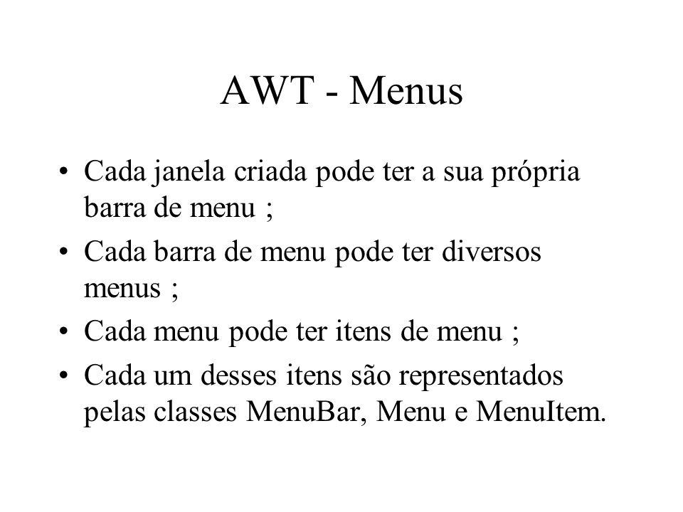 AWT - Menus Cada janela criada pode ter a sua própria barra de menu ;