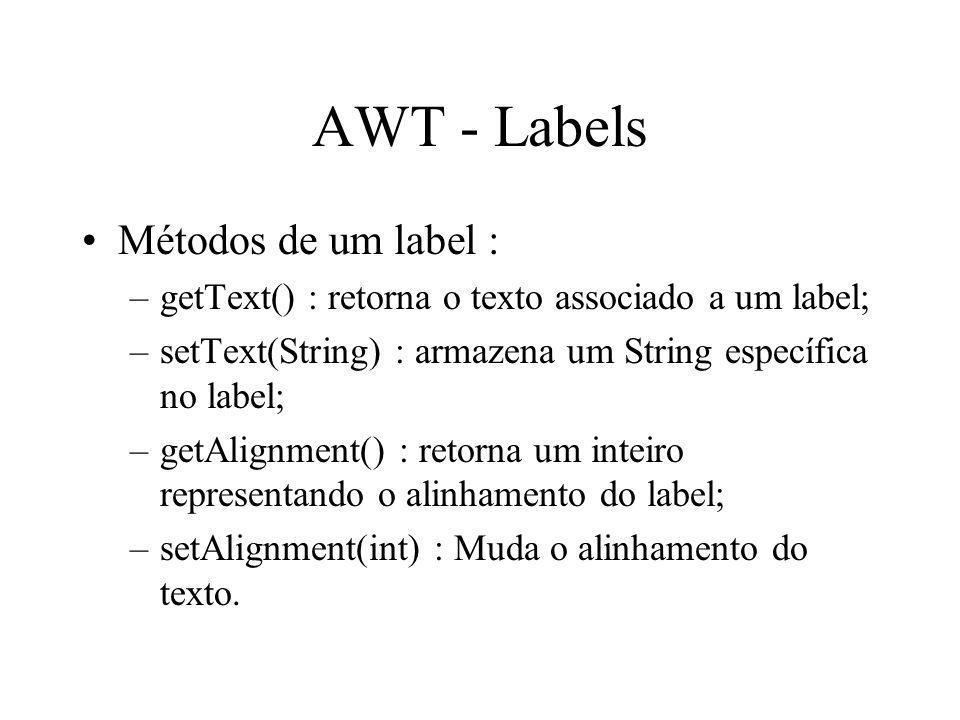 AWT - Labels Métodos de um label :