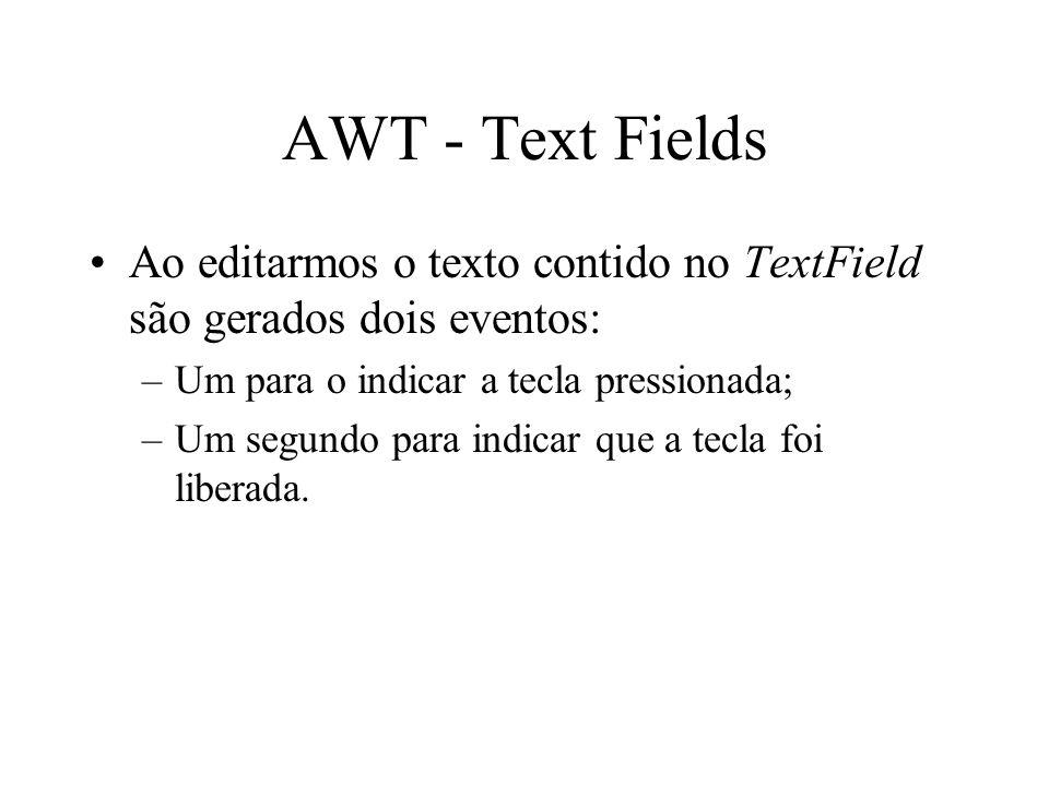 AWT - Text Fields Ao editarmos o texto contido no TextField são gerados dois eventos: Um para o indicar a tecla pressionada;