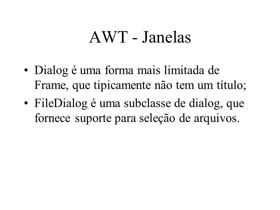 AWT - Janelas Dialog é uma forma mais limitada de Frame, que tipicamente não tem um título;