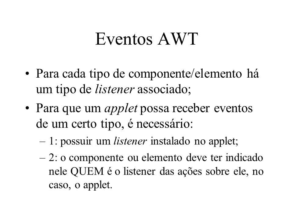 Eventos AWT Para cada tipo de componente/elemento há um tipo de listener associado;