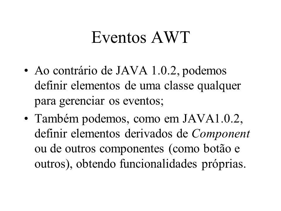 Eventos AWT Ao contrário de JAVA 1.0.2, podemos definir elementos de uma classe qualquer para gerenciar os eventos;