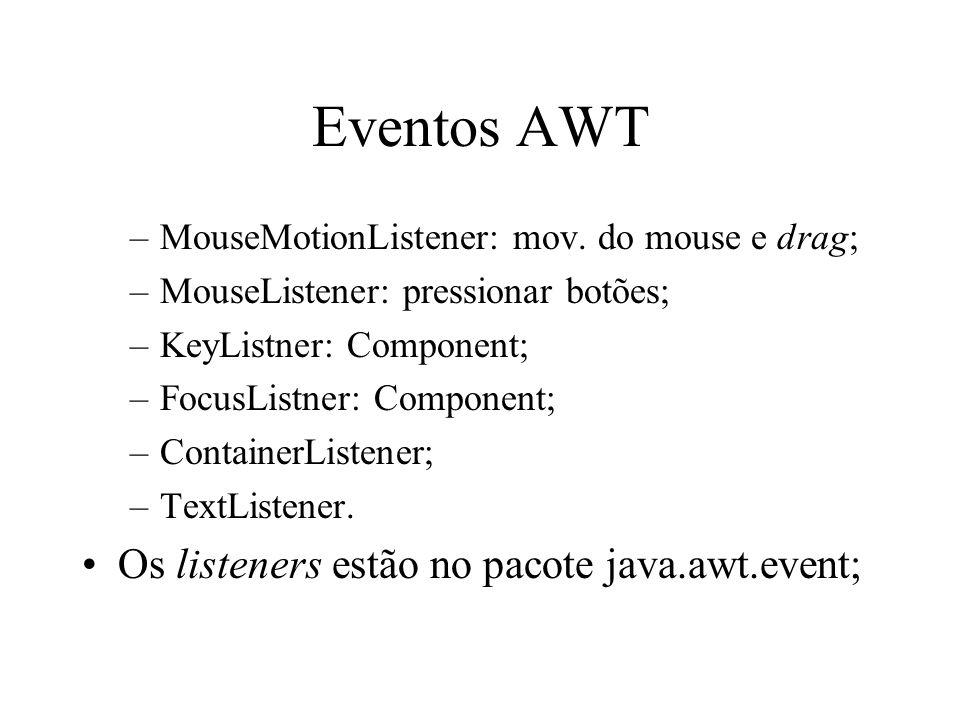 Eventos AWT Os listeners estão no pacote java.awt.event;