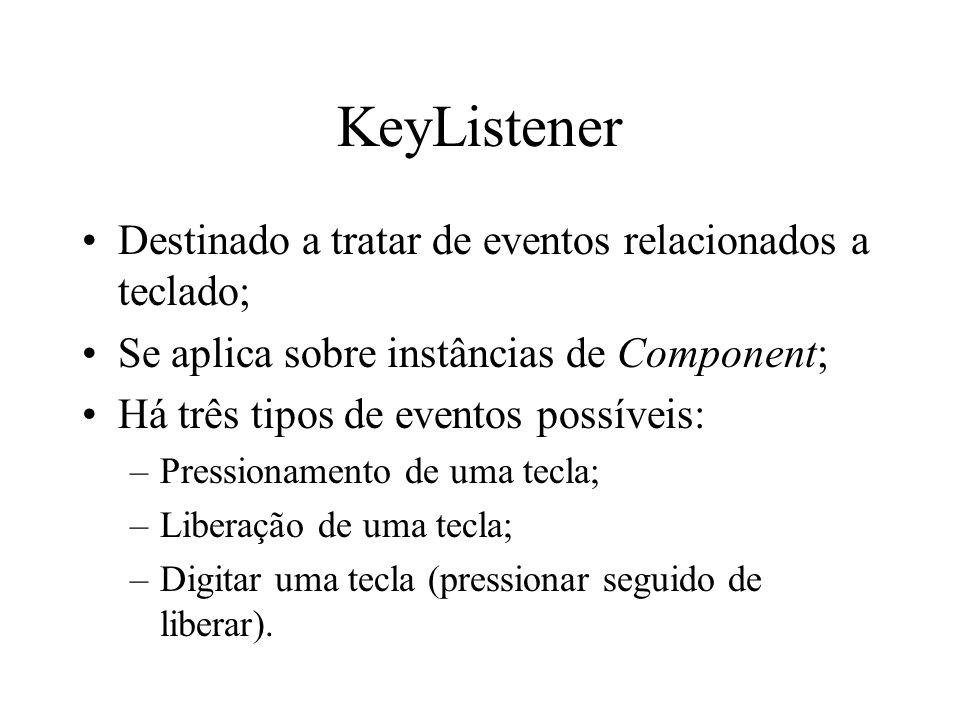 KeyListener Destinado a tratar de eventos relacionados a teclado;