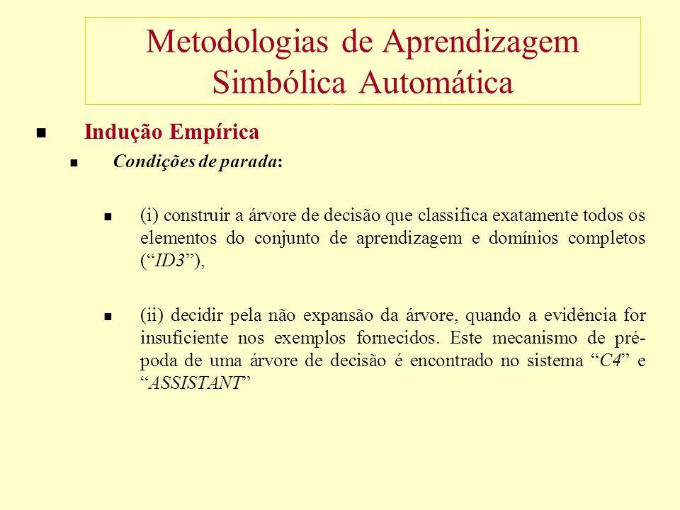 Metodologias de Aprendizagem Simbólica Automática