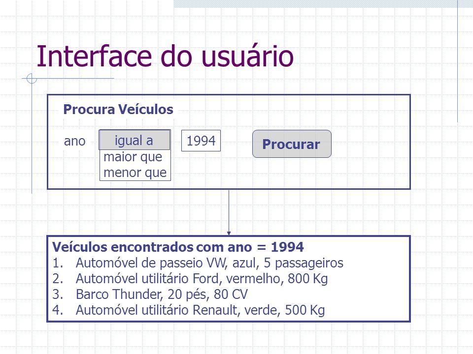 Interface do usuário Procura Veículos ano igual a maior que menor que