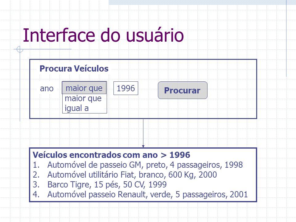 Interface do usuário Procura Veículos ano maior que maior que igual a