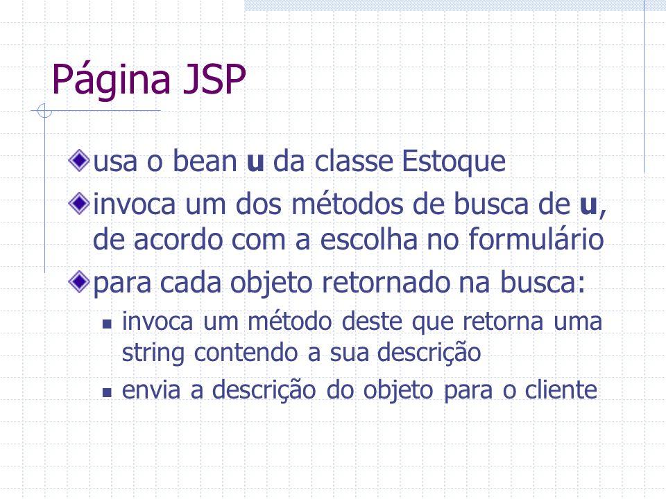 Página JSP usa o bean u da classe Estoque